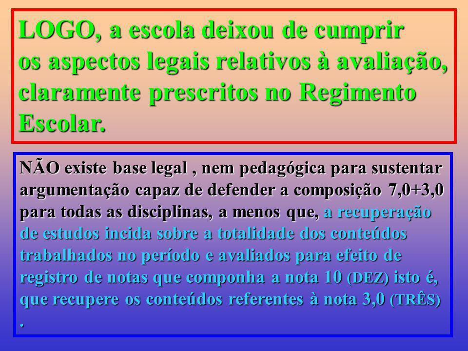 LOGO, a escola deixou de cumprir os aspectos legais relativos à avaliação, claramente prescritos no Regimento Escolar. NÃO existe base legal, nem peda