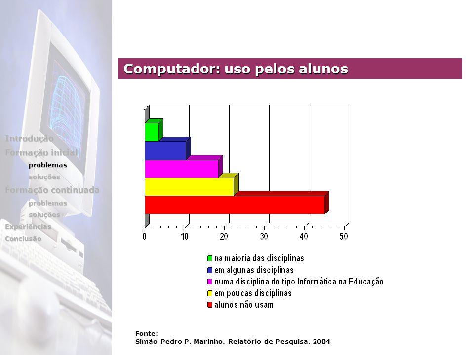 Computador: uso pelos alunos Introdução Formação inicial problemassoluções Formação continuada problemassoluçõesExperiênciasConclusão Fonte: Simão Pedro P.