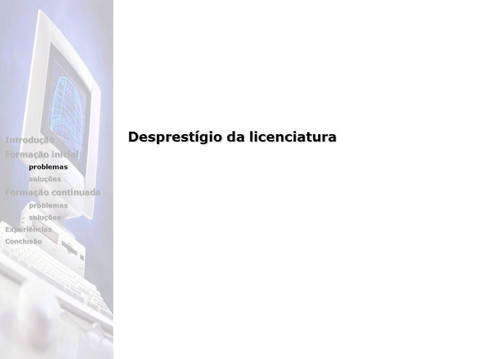Introdução Formação inicial problemassoluções Formação continuada problemassoluçõesExperiênciasConclusão Desprestígio da licenciatura