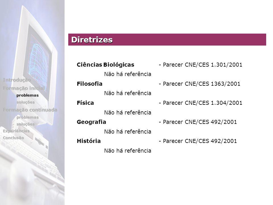 Ciências Biológicas- Parecer CNE/CES 1.301/2001 Não há referência Filosofia - Parecer CNE/CES 1363/2001 Não há referência Física - Parecer CNE/CES 1.3