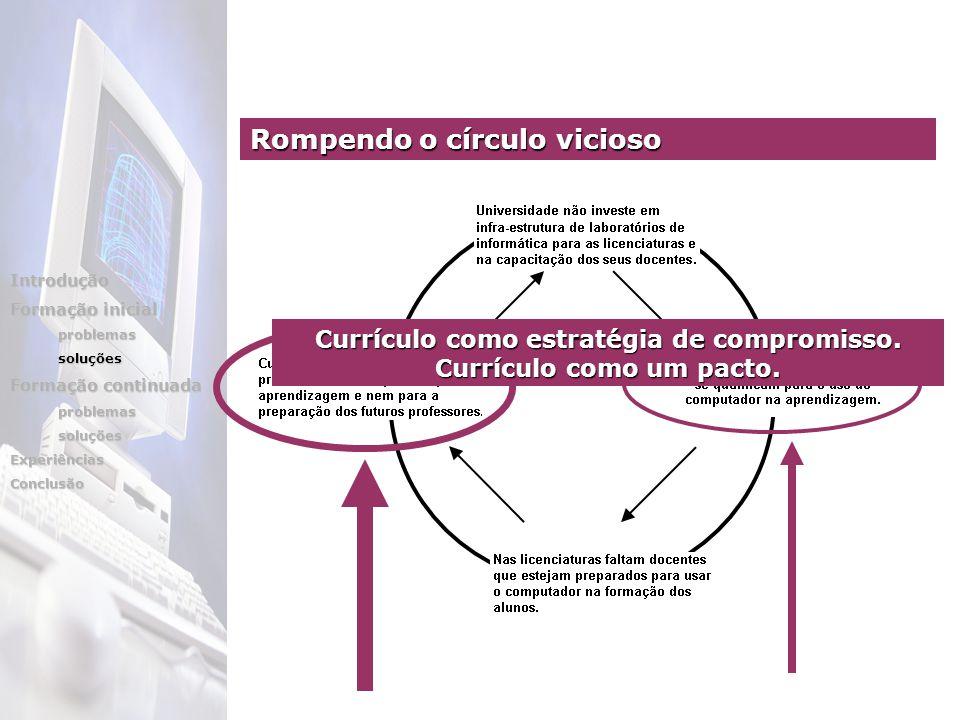 Currículo como estratégia de compromisso. Currículo como um pacto. Rompendo o círculo vicioso Introdução Formação inicial problemassoluções Formação c