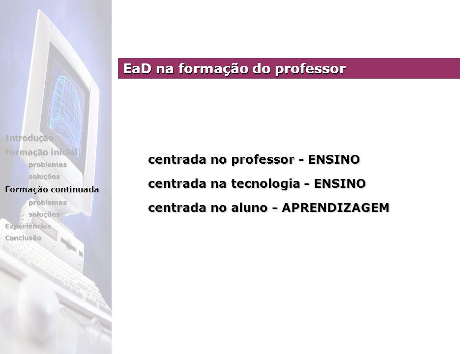 centrada no professor - ENSINO centrada no professor - ENSINO centrada na tecnologia - ENSINO centrada na tecnologia - ENSINO centrada no aluno - APRE