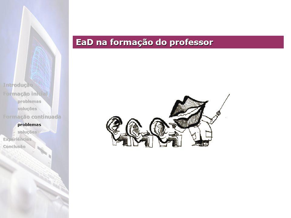 EaD na formação do professor Introdução Formação inicial problemassoluções Formação continuada problemassoluçõesExperiênciasConclusão