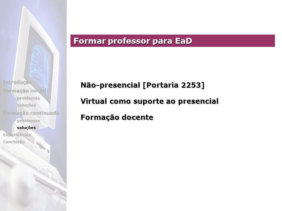 Não-presencial [Portaria 2253] Virtual como suporte ao presencial Formação docente Formar professor para EaD Introdução Formação inicial problemassoluções Formação continuada problemassoluçõesExperiênciasConclusão