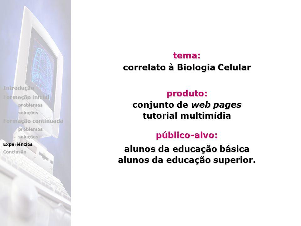 tema: correlato à Biologia Celular produto: conjunto de web pages tutorial multimídia público-alvo: alunos da educação básica alunos da educação superior.