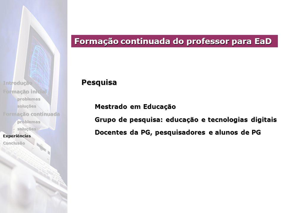 Mestrado em Educação Mestrado em Educação Grupo de pesquisa: educação e tecnologias digitais Grupo de pesquisa: educação e tecnologias digitais Docent