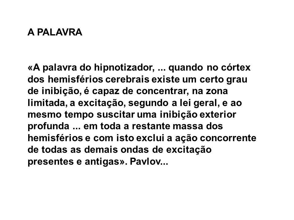 A PALAVRA «A palavra do hipnotizador,... quando no córtex dos hemisférios cerebrais existe um certo grau de inibição, é capaz de concentrar, na zona l