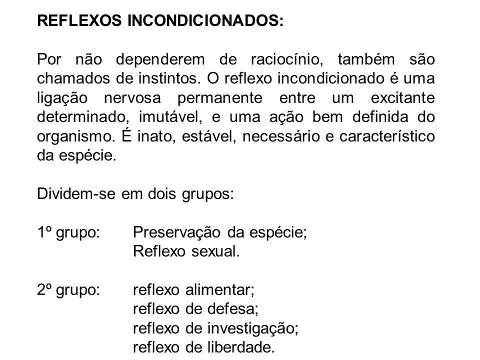 REFLEXOS INCONDICIONADOS: Por não dependerem de raciocínio, também são chamados de instintos.