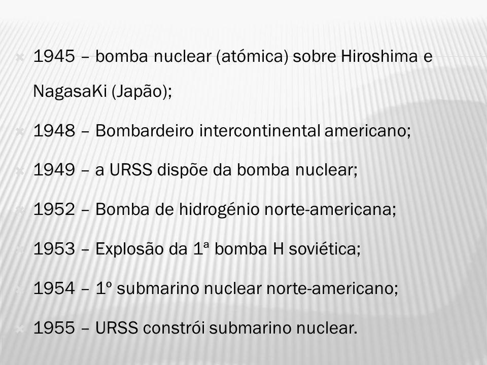 A conflitualidade latente entre os EUA e a URSS, desencadeou, no pós Segunda Guerra Mundial, uma corrida ao armamento: 1953 – os EUA e a URSS estão muito equilibrados em termos de armamento (as duas potências possuem armas nucleares – as armas atómicas propriamente ditas e os meios para as transportar, bombardeiros e mísseis) equilíbrio do terror O perigo real de aniquilamento levou em : 1956 – criação da Agência Internacional para a Energia Atómica, com vista ao desarmamento, mas não teve qualquer efeito na redução do potencial militar dos EUA e da URSS; eram cada vez maiores as somas dispendidas, pelas duas superpotências, em pesquisa e armamento, no sentido de evitarem a supremacia do lado contrário.