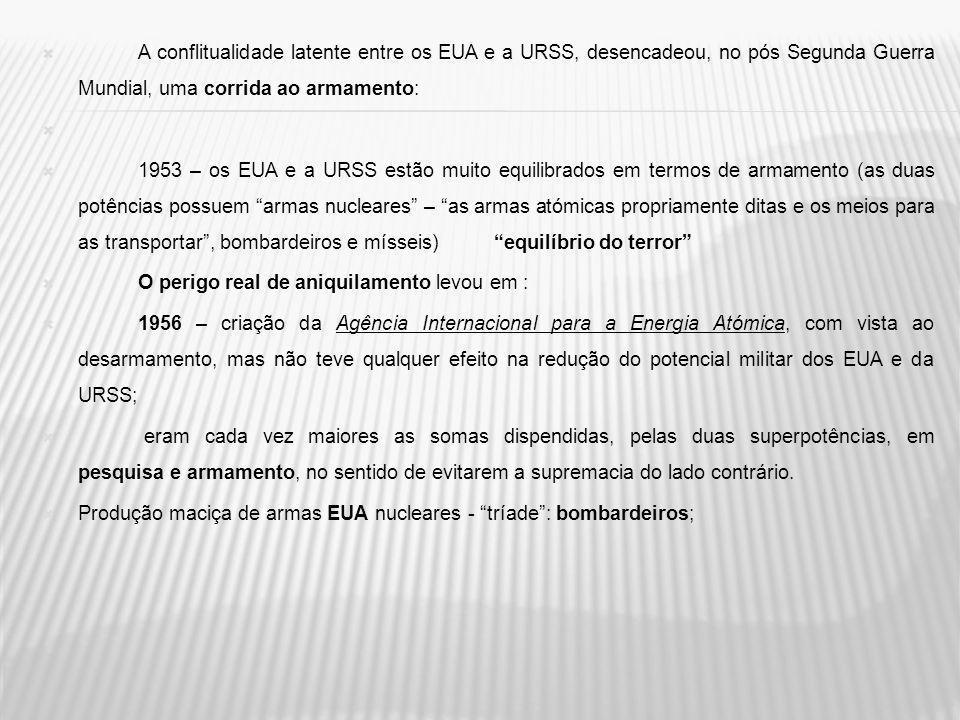 URSS mísseis intercontinentais Submarinos nucleares aperfeiçoamento dos armamentos convencionais (indispensáveis numa situação de conflito) pois as armas nucleares são utilizadas como armas de dissuasão e de terror.