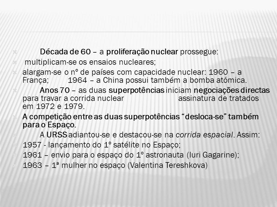 Década de 60 – a proliferação nuclear prossegue: multiplicam-se os ensaios nucleares; alargam-se o nº de países com capacidade nuclear: 1960 – a Franç