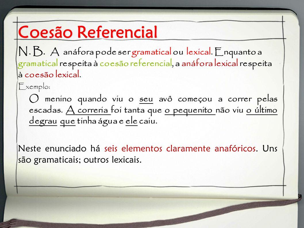 Coesão Referencial N. B. A anáfora pode ser gramatical ou lexical. Enquanto a gramatical respeita à coesão referencial, a anáfora lexical respeita à c