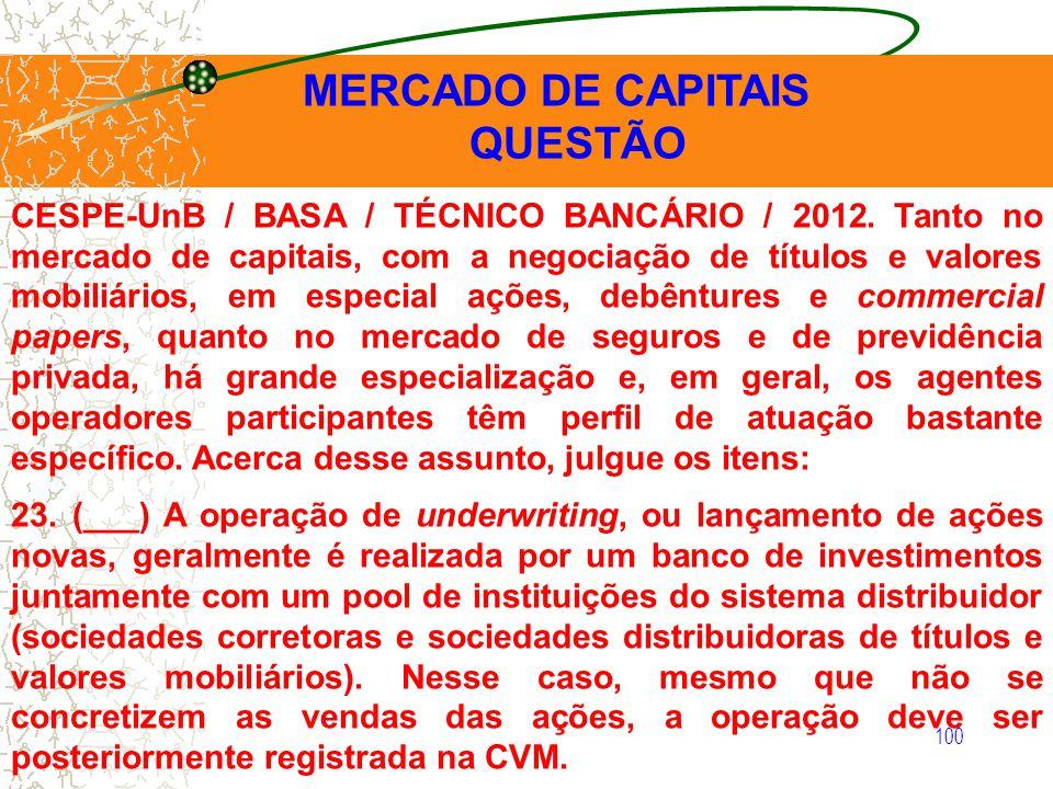 100 MERCADO DE CAPITAIS QUESTÃO CESPE-UnB / BASA / TÉCNICO BANCÁRIO / 2012. Tanto no mercado de capitais, com a negociação de títulos e valores mobili