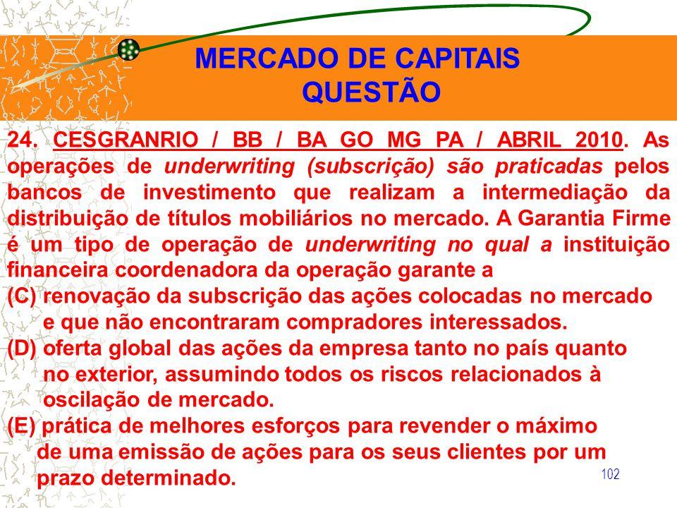 102 MERCADO DE CAPITAIS QUESTÃO 24. CESGRANRIO / BB / BA GO MG PA / ABRIL 2010. As operações de underwriting (subscrição) são praticadas pelos bancos