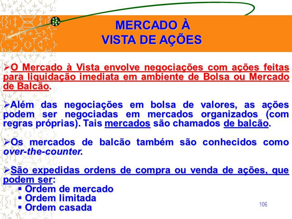 106 MERCADO À VISTA DE AÇÕES MERCADO À VISTA DE AÇÕES O Mercado à Vista envolve negociações com ações feitas para liquidação imediata em ambiente de B