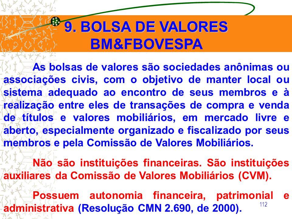 112 9. BOLSA DE VALORES BM&FBOVESPA As bolsas de valores são sociedades anônimas ou associações civis, com o objetivo de manter local ou sistema adequ
