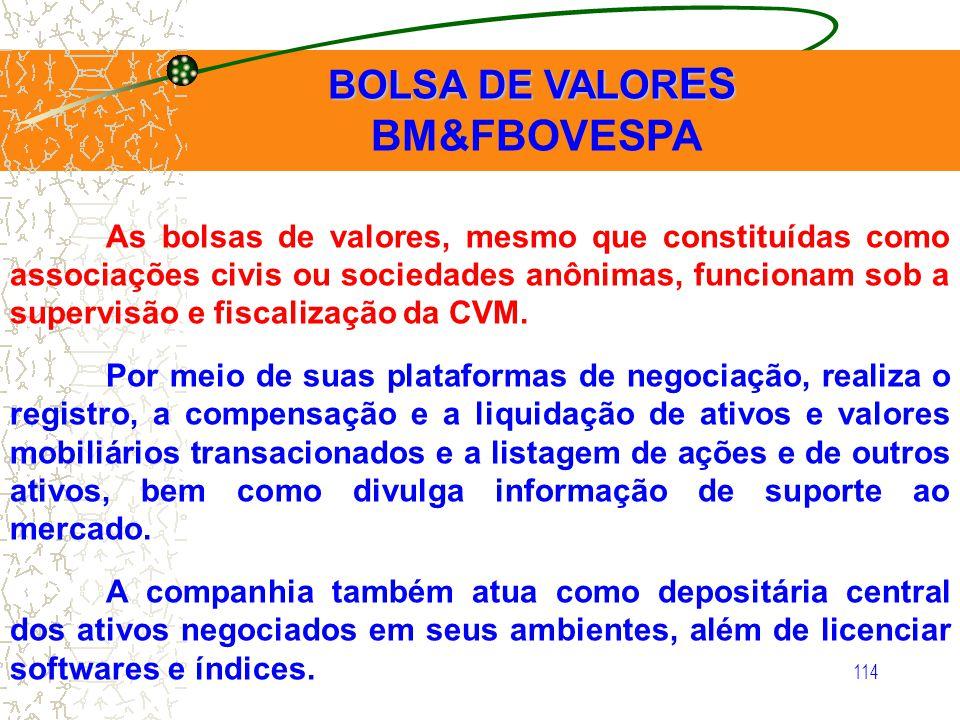 114 BOLSA DE VALOR ES BOLSA DE VALOR ES BM&FBOVESPA As bolsas de valores, mesmo que constituídas como associações civis ou sociedades anônimas, funcio
