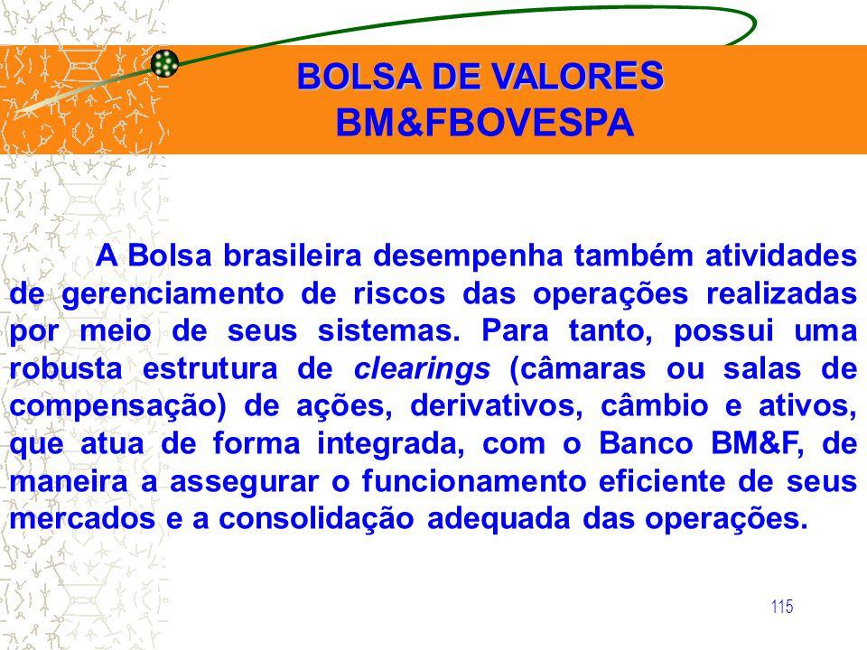 115 BOLSA DE VALOR ES BOLSA DE VALOR ES BM&FBOVESPA A Bolsa brasileira desempenha também atividades de gerenciamento de riscos das operações realizada