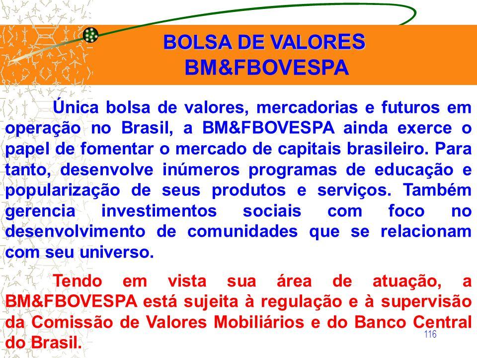 116 BOLSA DE VALOR ES BOLSA DE VALOR ES BM&FBOVESPA Única bolsa de valores, mercadorias e futuros em operação no Brasil, a BM&FBOVESPA ainda exerce o