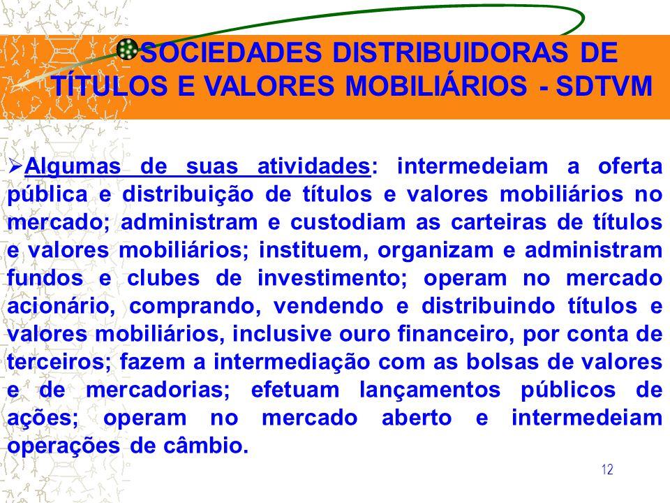 12 Algumas de suas atividades: intermedeiam a oferta pública e distribuição de títulos e valores mobiliários no mercado; administram e custodiam as ca