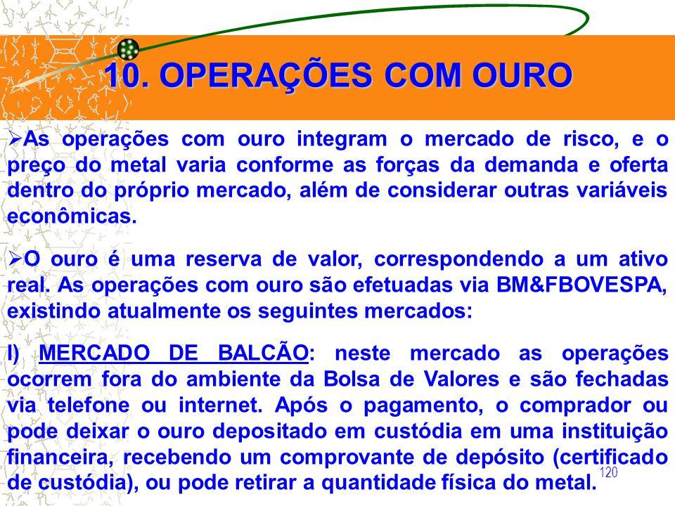 120 10. OPERAÇÕES COM OURO As operações com ouro integram o mercado de risco, e o preço do metal varia conforme as forças da demanda e oferta dentro d
