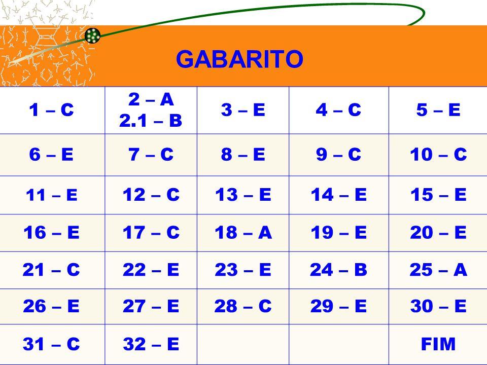 GABARITO. 1 – C 2 – A 2.1 – B 3 – E4 – C5 – E 6 – E7 – C8 – E9 – C10 – C 11 – E 12 – C13 – E14 – E15 – E 16 – E17 – C18 – A19 – E20 – E 21 – C22 – E23