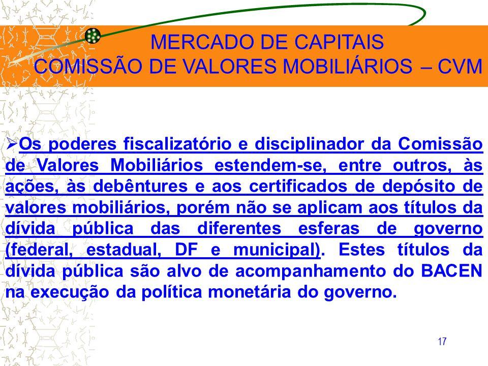 17 MERCADO DE CAPITAIS COMISSÃO DE VALORES MOBILIÁRIOS – CVM Os poderes fiscalizatório e disciplinador da Comissão de Valores Mobiliários estendem-se,