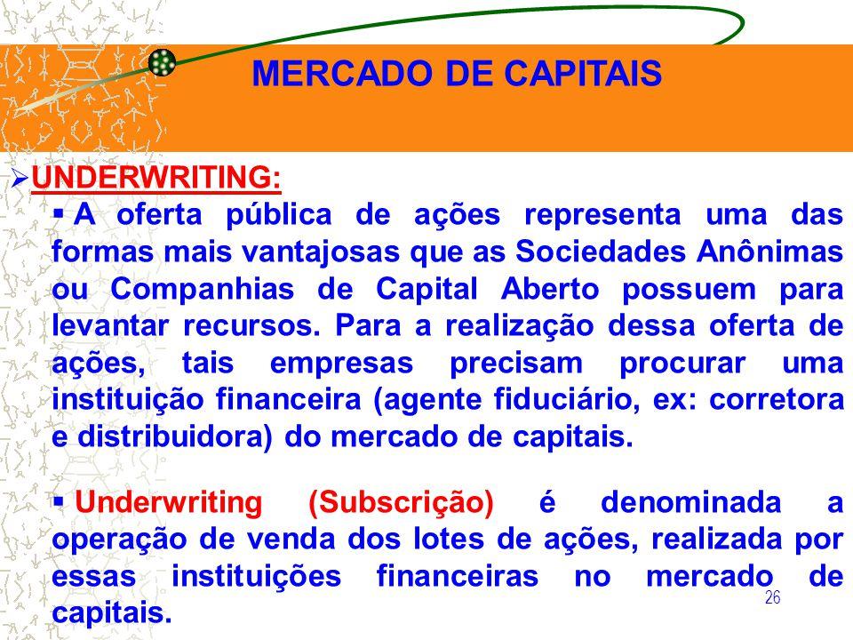 26 MERCADO DE CAPITAIS UNDERWRITING: A oferta pública de ações representa uma das formas mais vantajosas que as Sociedades Anônimas ou Companhias de C