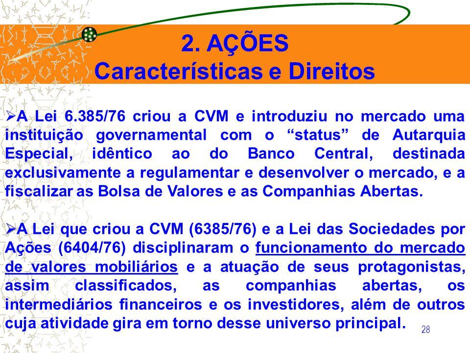 28 2. AÇÕES Características e Direitos A Lei 6.385/76 criou a CVM e introduziu no mercado uma instituição governamental com o status de Autarquia Espe