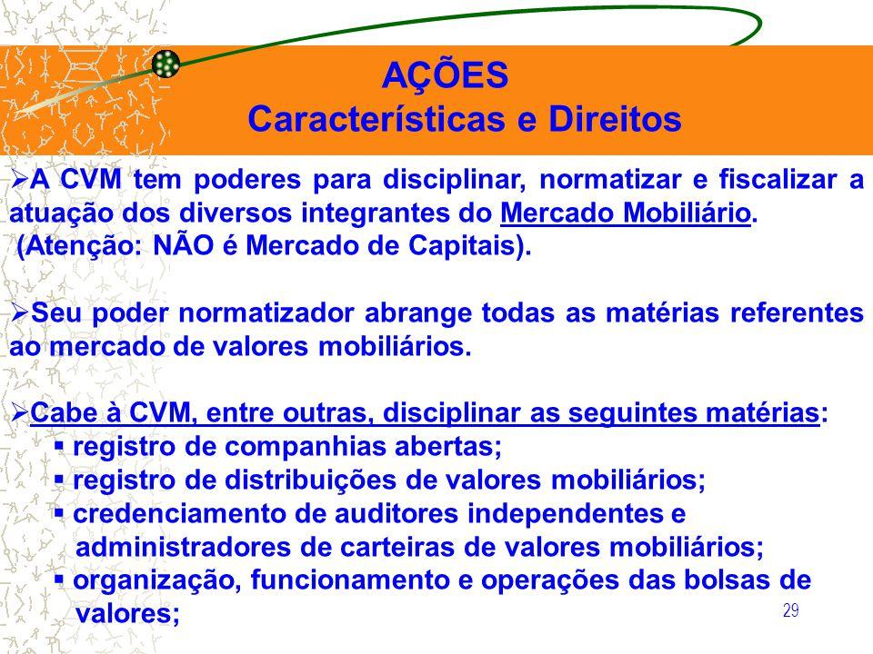 29 AÇÕES Características e Direitos A CVM tem poderes para disciplinar, normatizar e fiscalizar a atuação dos diversos integrantes do Mercado Mobiliár