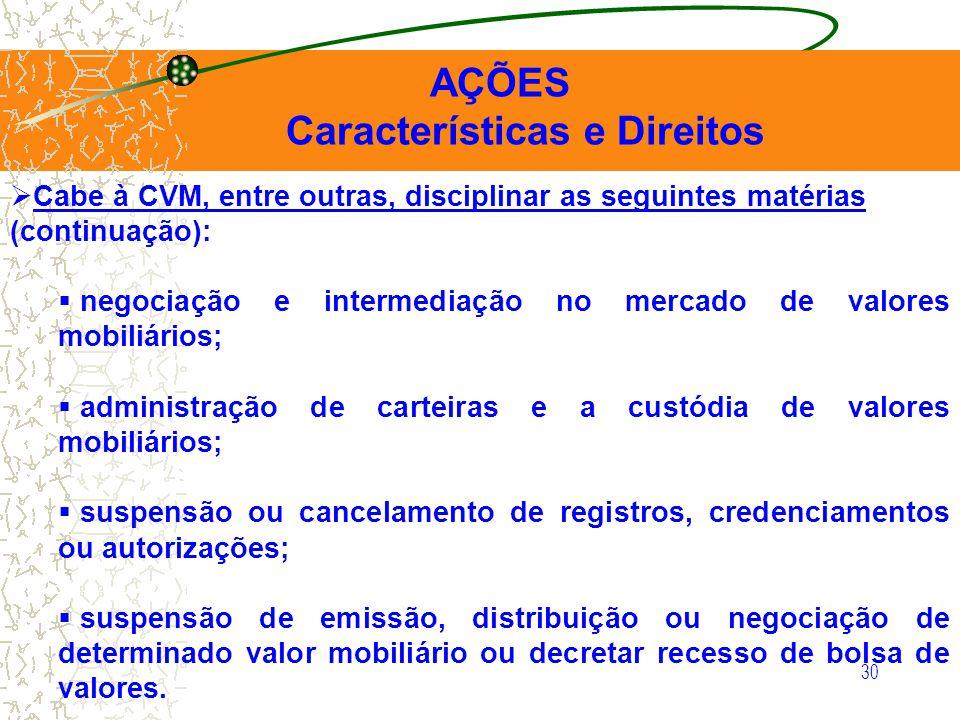 30 AÇÕES Características e Direitos Cabe à CVM, entre outras, disciplinar as seguintes matérias (continuação): negociação e intermediação no mercado d