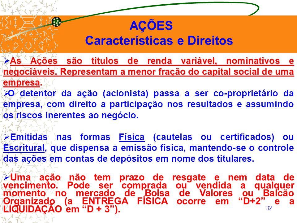 32 AÇÕES Características e Direitos As Ações são títulos de renda variável, nominativos e negociáveis. Representam a menor fração do capital social de
