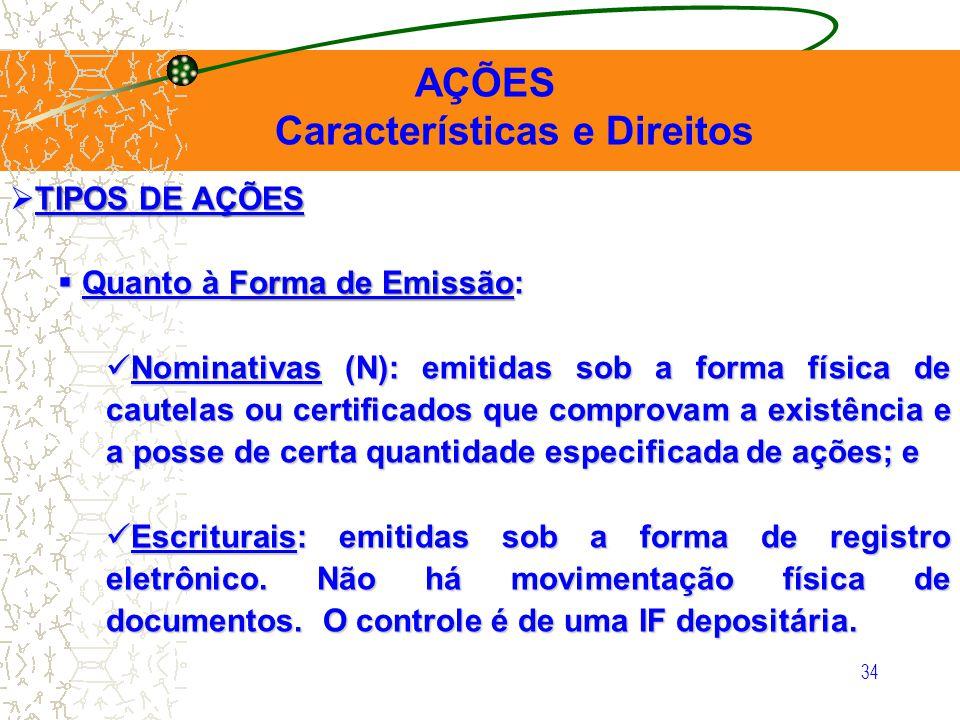 34 AÇÕES Características e Direitos TIPOS DE AÇÕES TIPOS DE AÇÕES Quanto à Forma de Emissão: Quanto à Forma de Emissão: Nominativas (N): emitidas sob