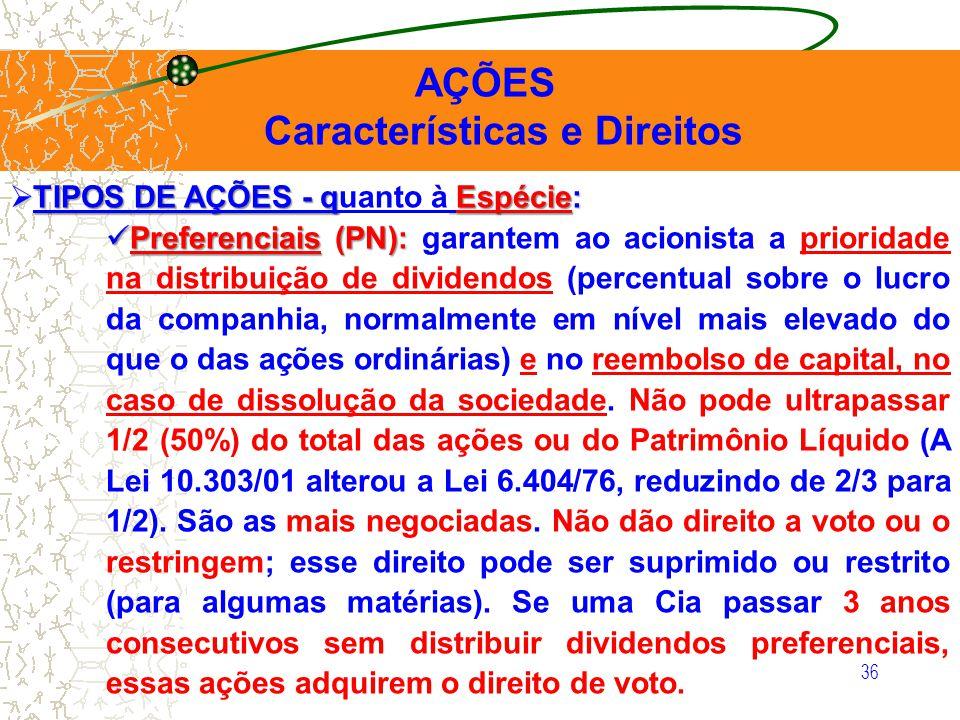 36 AÇÕES Características e Direitos TIPOS DE AÇÕES - q Espécie: TIPOS DE AÇÕES - quanto à Espécie: Preferenciais (PN): Preferenciais (PN): garantem ao