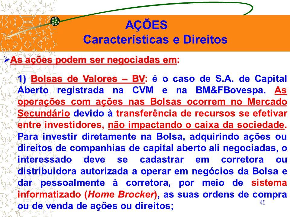 45 AÇÕES Características e Direitos As ações podem ser negociadas em As ações podem ser negociadas em: 1) Bolsas de Valores – BV 1) Bolsas de Valores