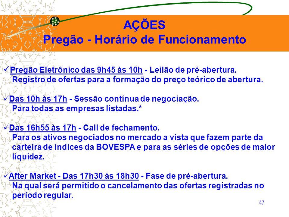 47 AÇÕES Pregão - Horário de Funcionamento P Pregão Eletrônico das 9h45 às 10h - Leilão de pré-abertura. Registro de ofertas para a formação do preço