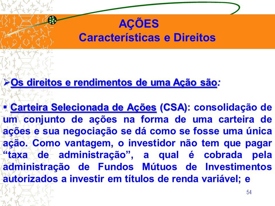 54 AÇÕES Características e Direitos Os direitos e rendimentos de uma Ação são: Os direitos e rendimentos de uma Ação são: Carteira Selecionada de Açõe