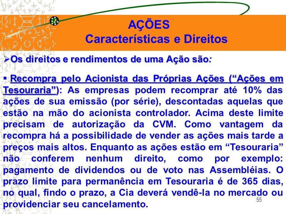 55 AÇÕES Características e Direitos Os direitos e rendimentos de uma Ação são: Os direitos e rendimentos de uma Ação são: Recompra pelo Acionista das