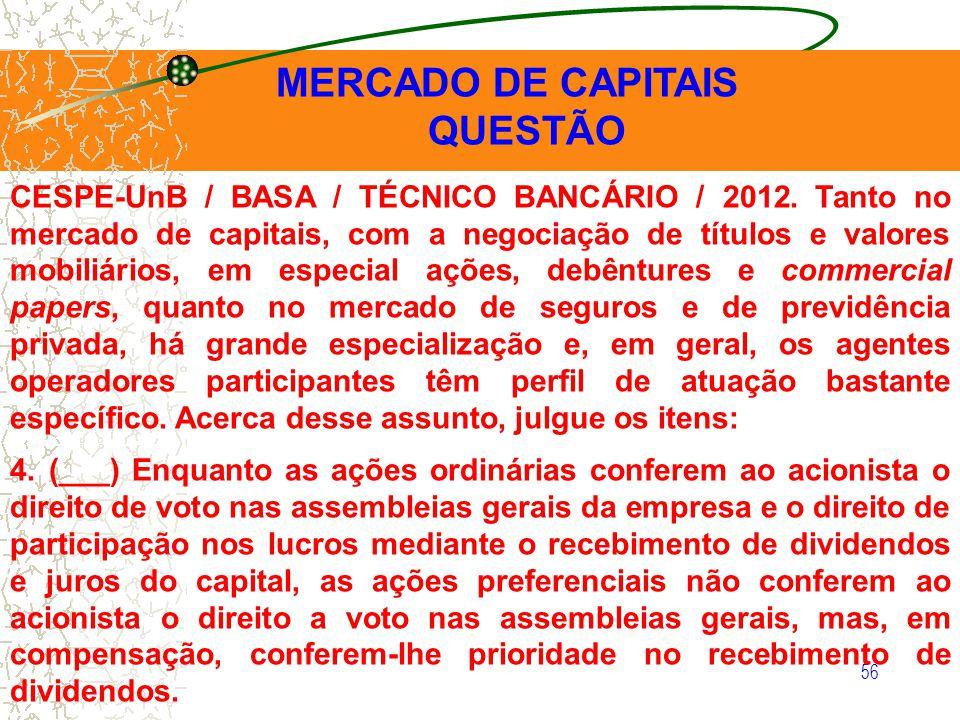 56 MERCADO DE CAPITAIS QUESTÃO CESPE-UnB / BASA / TÉCNICO BANCÁRIO / 2012. Tanto no mercado de capitais, com a negociação de títulos e valores mobiliá