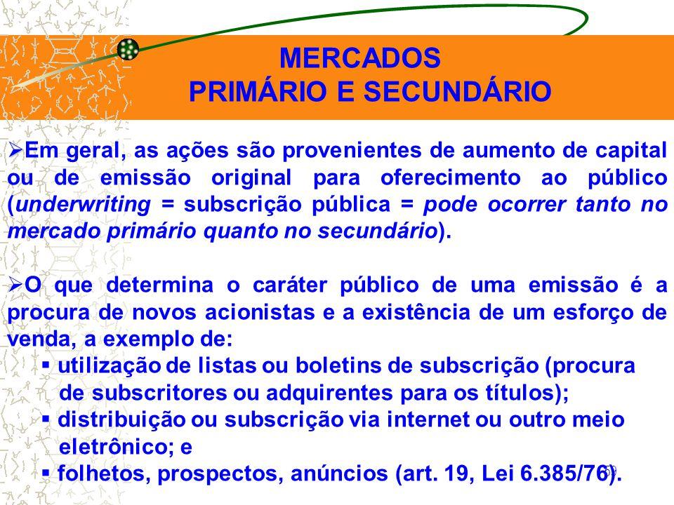 59 MERCADOS PRIMÁRIO E SECUNDÁRIO Em geral, as ações são provenientes de aumento de capital ou de emissão original para oferecimento ao público (under