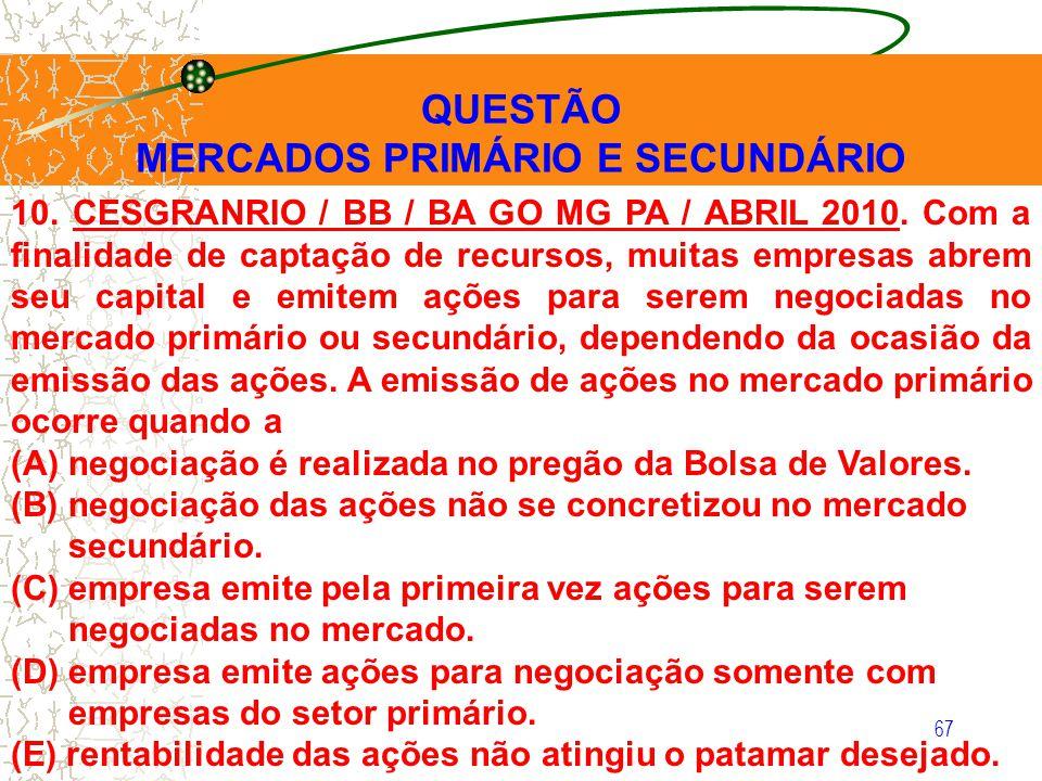 67 QUESTÃO MERCADOS PRIMÁRIO E SECUNDÁRIO 10. CESGRANRIO / BB / BA GO MG PA / ABRIL 2010. Com a finalidade de captação de recursos, muitas empresas ab
