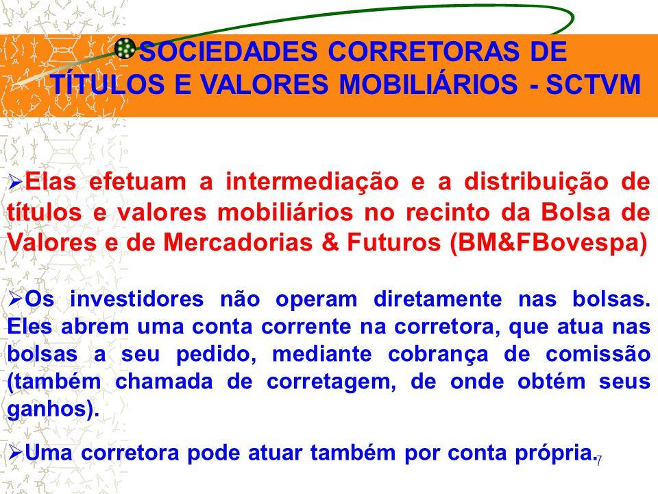 7 Elas efetuam a intermediação e a distribuição de títulos e valores mobiliários no recinto da Bolsa de Valores e de Mercadorias & Futuros (BM&FBovesp