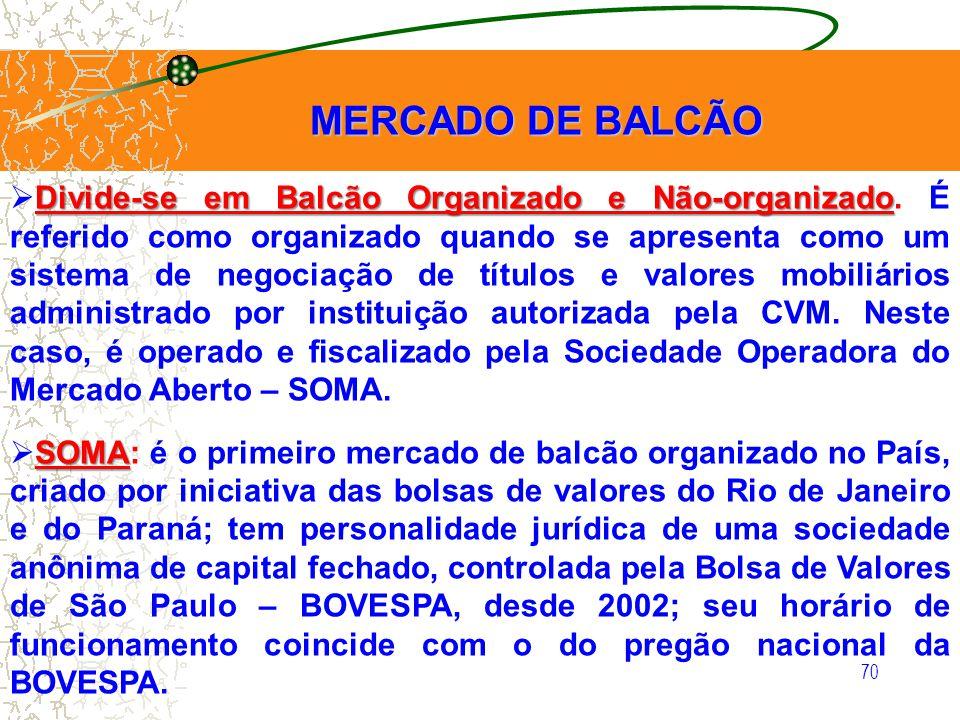 70 MERCADO DE BALCÃO MERCADO DE BALCÃO Divide-se em Balcão Organizado e Não-organizado Divide-se em Balcão Organizado e Não-organizado. É referido com