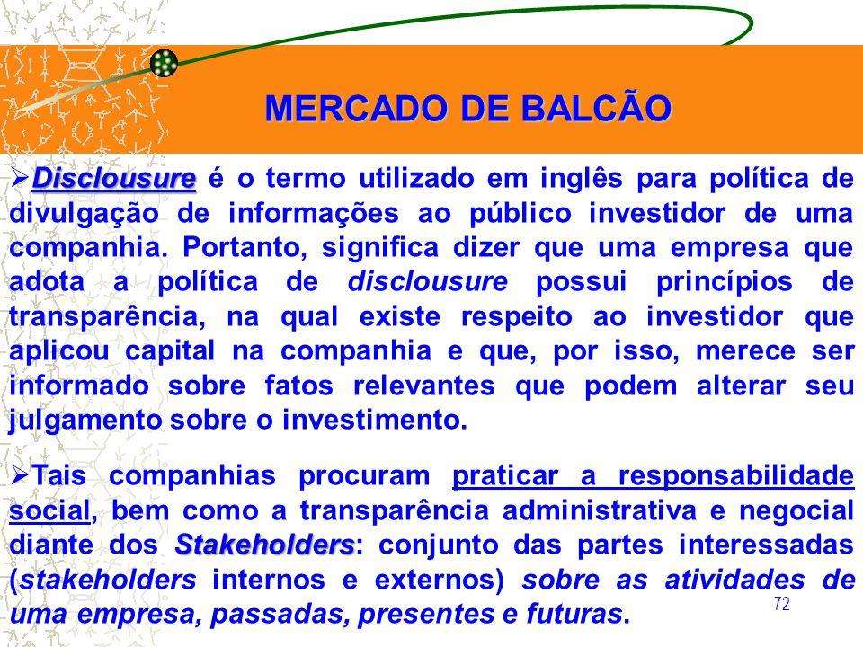72 MERCADO DE BALCÃO MERCADO DE BALCÃO Disclousure Disclousure é o termo utilizado em inglês para política de divulgação de informações ao público inv