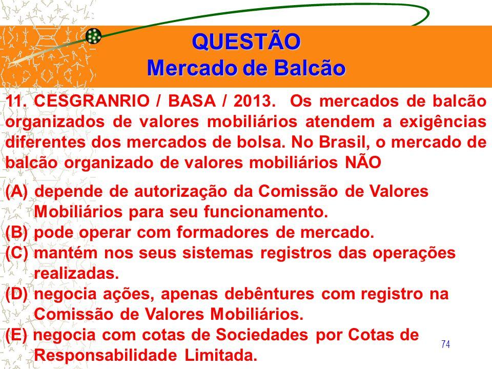11. CESGRANRIO / BASA / 2013. Os mercados de balcão organizados de valores mobiliários atendem a exigências diferentes dos mercados de bolsa. No Brasi