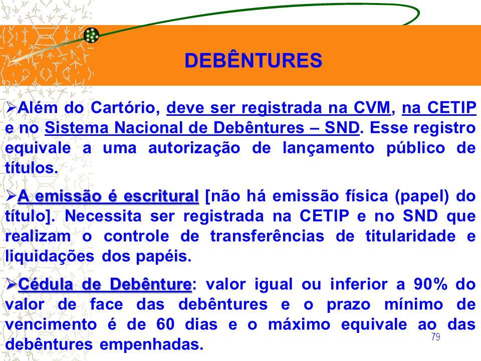 79 DEBÊNTURES Além do Cartório, deve ser registrada na CVM, na CETIP e no Sistema Nacional de Debêntures – SND. Esse registro equivale a uma autorizaç
