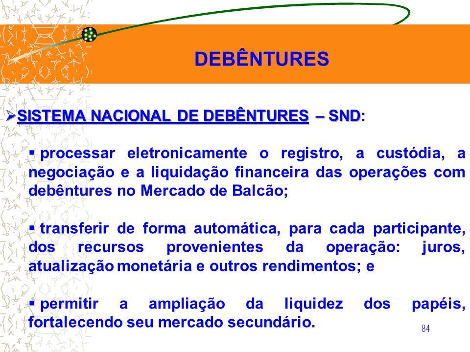 84 DEBÊNTURES SISTEMA NACIONAL DE DEBÊNTURES – SND SISTEMA NACIONAL DE DEBÊNTURES – SND: processar eletronicamente o registro, a custódia, a negociaçã