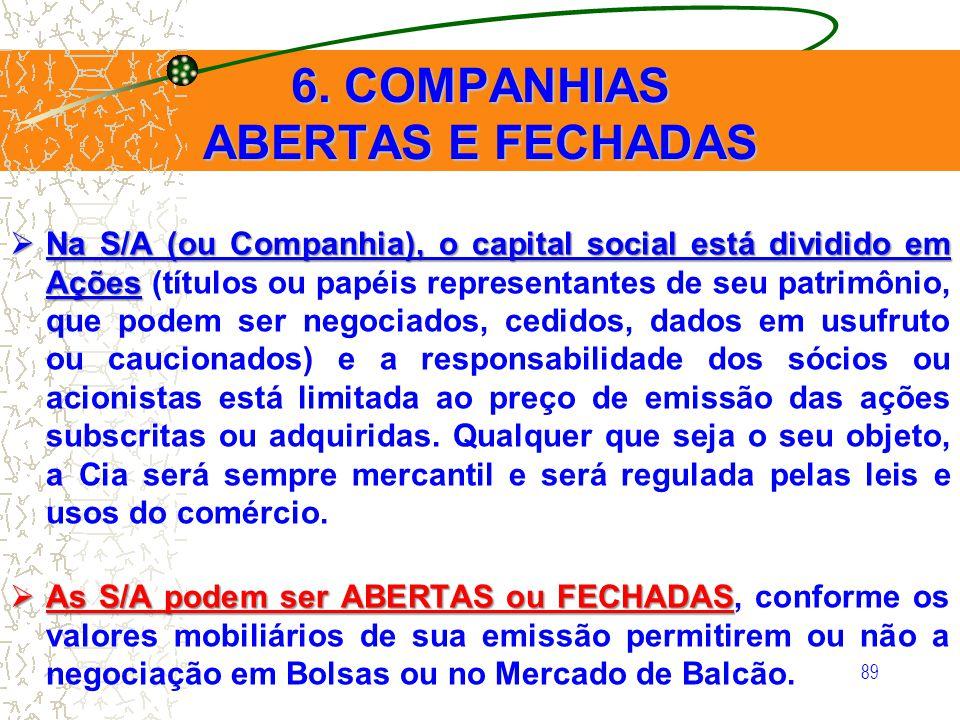 89 6. COMPANHIAS ABERTAS E FECHADAS Na S/A (ou Companhia), o capital social está dividido em Ações Na S/A (ou Companhia), o capital social está dividi