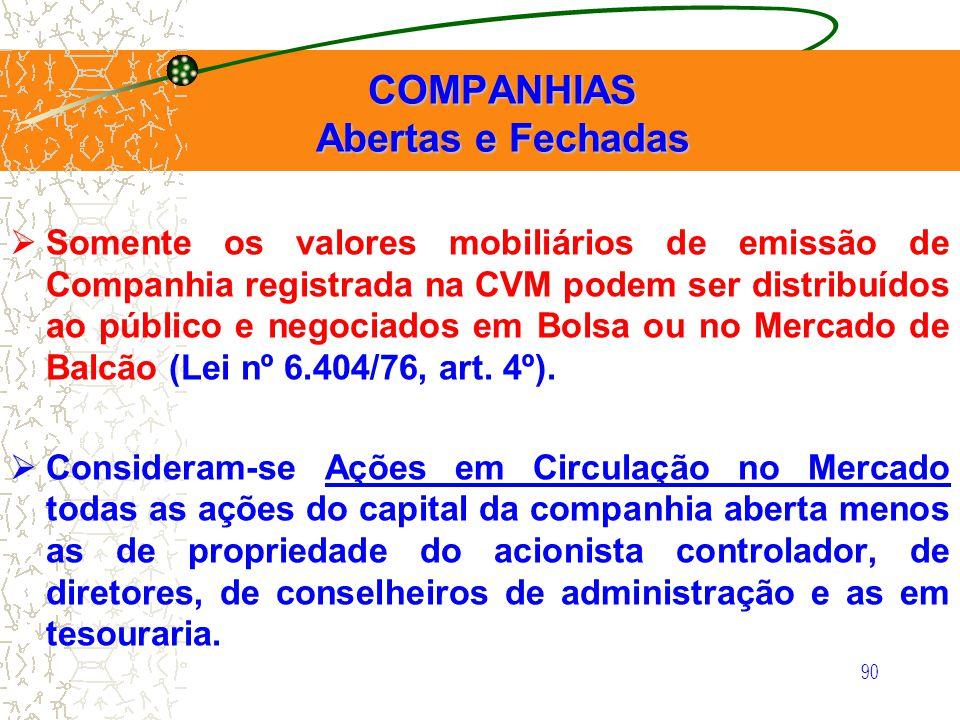 90 COMPANHIAS Abertas e Fechadas COMPANHIAS Abertas e Fechadas Somente os valores mobiliários de emissão de Companhia registrada na CVM podem ser dist