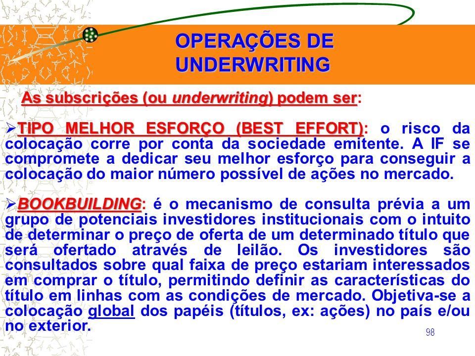 98 OPERAÇÕES DE UNDERWRITING OPERAÇÕES DE UNDERWRITING As subscrições (ou underwriting) podem ser As subscrições (ou underwriting) podem ser: TIPO MEL